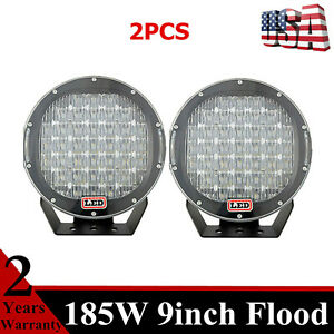 2x 185w 9 In Cree Led Work Lights Fog Flood Lamp Offroad Truck Replace Hid Round