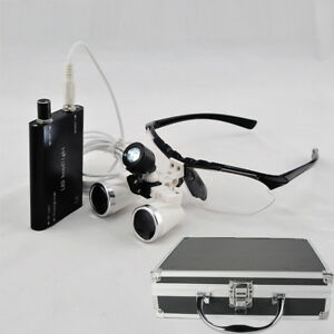 3 5 420 Dental Oral Loupes Surgical Medical Led Head Light Lamp Aluminum Case Us