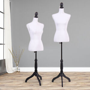 White Female Mannequin Torso Clothing Display W black Tripod Stand New