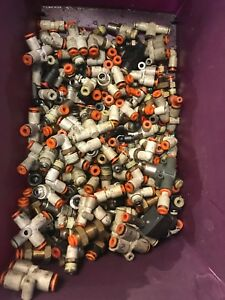 Used Lot Of Assorted 1 8 O d Tube Push To Connect Smc Fittings