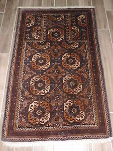 3x5ft Vintage Turkoman Geometric Wool Prayer Rug