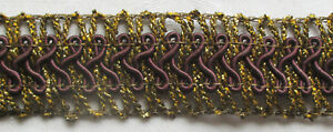 Unique Gold Metallic Trim Open Weave W Silk Corded Accents French