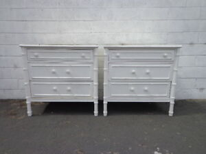 Pair Of Bamboo Chests Nightstands Thomasville Allegro Dresser Table Storage Boho