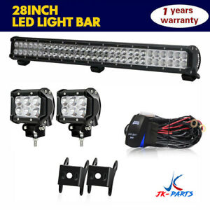 32inch 180w Led Light Bar Combo 2x 18w Spot Lights Wiring Harness For Bull Bar
