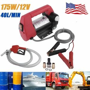 12v 175w Electric Diesel Oil And Fuel Transfer Extractor Pump W Nozzle