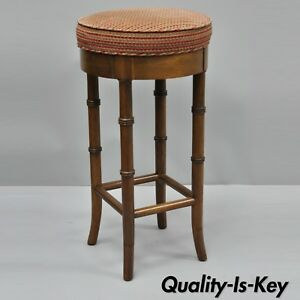 Vtg Faux Bamboo Chinese Chippendale Style Mahogany Wood Counter Bar Stool Seat