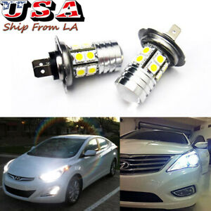Hid White 100w H7 Led For Hyundai Genesis Sonata Veloster Daytime Running Lights