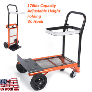 Folding Hand Truck Doll Cart Collapsible Trolley Push Warehouse Up To 80kg
