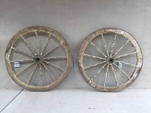 Antique Sicilian Cart Wheels Wood With Iron Rims Elaborately Carved
