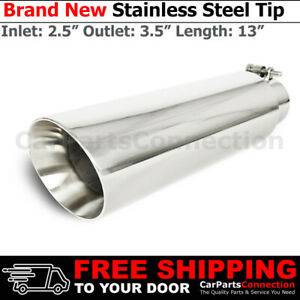 Bolt on Truck Angled Polished 13 Inch Exhaust Tip 213566 2 5 In 3 5 Out