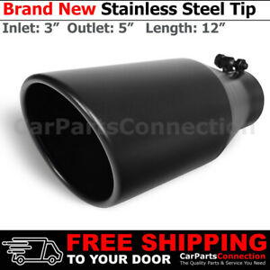 Bolt on Stainless Truck Angled Black 12 Inch Exhaust Tip 213542 3 In 5 Out