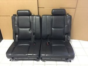 2007 2014 Denali Escalade 3rd Third Row Tahoe Suburban Black Perforated Leather