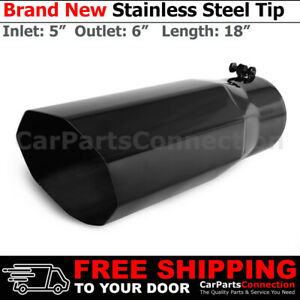 Universal Truck Angled Octagon Black 18 Inch Bolt on Exhaust Tip 5 In 6 Out