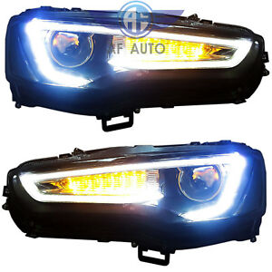 For 2008 2017 Mitsubishi Lancer Evo Led Drl Head Lights Headlamp Audi A5 Style