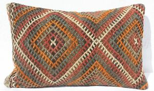 Turkish Kilim Rug Pillow Cushion Cover Hand Woven Wool 24 X 15
