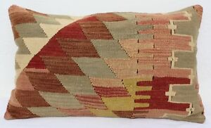 Turkish Kilim Rug Lumbar Pillow Cushion Cover Hand Woven Wool 24 X 15