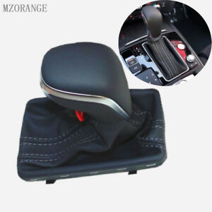 Black Auto Gear Shift Knob Leather Boot Gaiter Cover For Audi A6 C7 2016 2018
