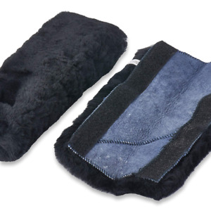Andalus Authentic Sheepskin Car Seat Belt Cover 2 Pack Black Soft Shoulder Pad