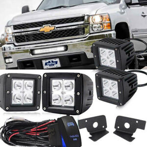 4pcs Fog Light Bar Mounting Bracket Wiring Kit 2008 10 Chevrolet Silverado 3500