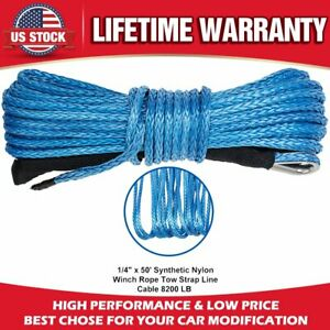 1 4 X 50 8200lbs Synthetic Winch Line Cable Rope W Sheath For Atv Utv Blue