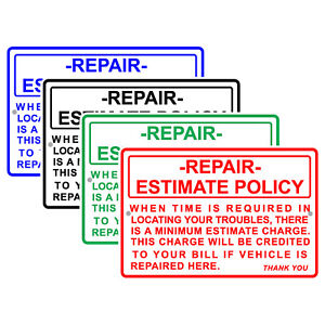 Repair Estimate Policy Vehicle Repair Charge Auto Shop Aluminum Metal Sign