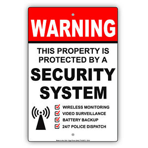 Warning Property Protected By Security System Cctv Safety Aluminum Metal Sign