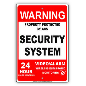 Warning Protected By 24 Hour Security System Video Alarm Red Aluminum Metal Sign