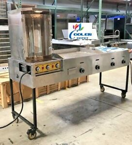 New 85 Combo Gas Griddle Rotisserie Shawarma Catering Taco Cart Commercial Use