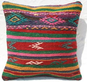 Turkish Kilim Rug Pillow Cushion Cover Wool 16 X 16 Geometric Kilim Pillow