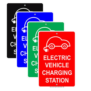 Electric Vehicle Charging Station Reserved Ev Parking Spot Aluminum Metal Sign