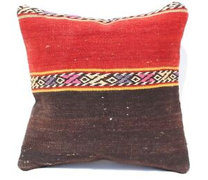 Turkish Kilim Rug Pillow Cushion Cover Handmade 16 X16