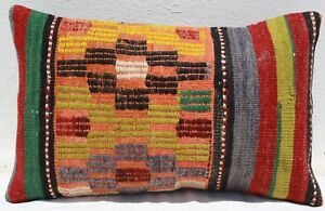 Turkish Kilim Rug Lumbar Pillow Cushion Cover Hand Woven Wool 20 X 13