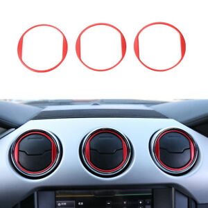 Fit Ford Mustang 2015 2019 Red Aluminum Alloy Dashboard Central Vent Decor Ring