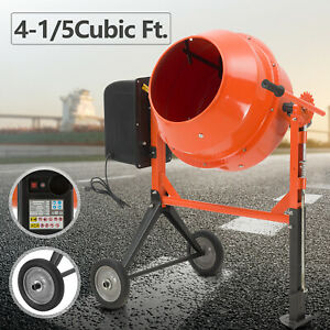 Portable 4 1 5cuft Electric Concrete Cement Mixer Barrow Machine Mixing Mortar