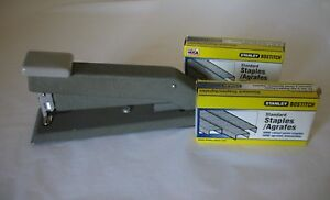 Vtg Bostititch Stapler Heavy Duty Gray Metal Made In Usa 2 Boxes Stanley Staples
