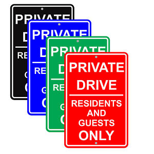 Private Drive Residents And Guests Only Driveway Restriction Aluminum Metal Sign