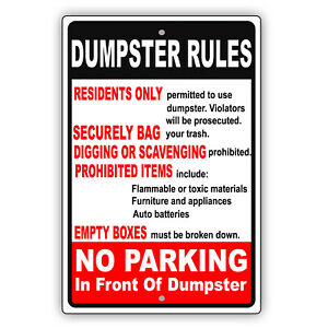 Dumpster Rules No Parking Property Dumping Policy Notice Aluminum Metal Sign