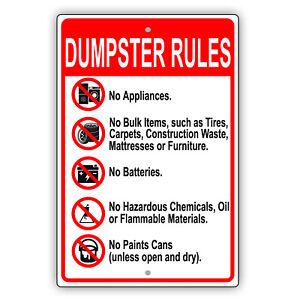 Dumpster Rules Prohibited Items Dumping Policy Notice Aluminum Metal Sign