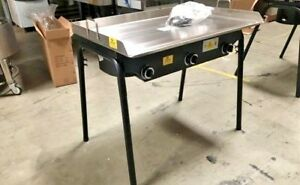 New 36 Outdoor Flat Top Griddle w 3 Burner Stove Taco Meats Bbq Breakfast Grill