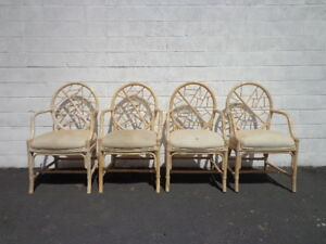 4 Rattan Chairs Mcguire Cracked Ice Chinese Chippendale Hollywood Regency Bamboo
