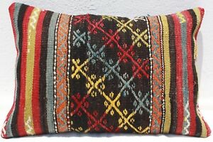 Turkish Kilim Rug Lumbar Pillow Cushion Cover Hand Woven Wool 20 X 14