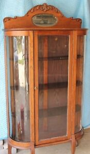 Vintage China Hutch Curio Cabinet Curved Glass