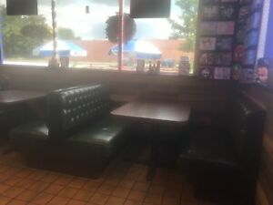 Restaurant Booths Table Dark Wood Green Seats