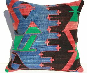 Turkish Kilim Rug Pillow Kilim Cushion Cover Hand Woven Wool 18 X18 Geometric