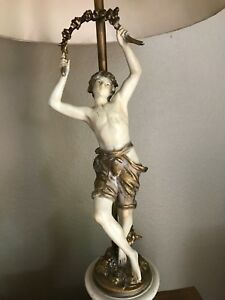 2 Antique August Moreau Signed Figural Lamp French Art Nouveau