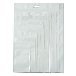 Clear White Ziplock Bags Plastic Package Poly Pouch With Round Hang Hole Packs