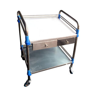 Hospital Medical Dental Lab Cart Trolley Two Layers Drawer Stainless Steel Yr