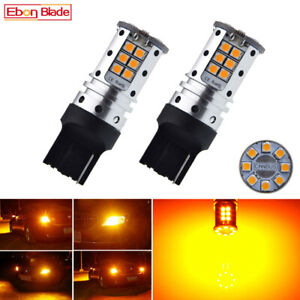 4 No Resistor Amber Yellow 7440 30smd T20 Led Bulbs Turn Signal Lights Canbus