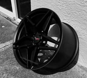 Satin Black C7 Zr1 Corvette Wheels Fits 2006 2013 Z06 Grand Sport 18x9 5 19x12