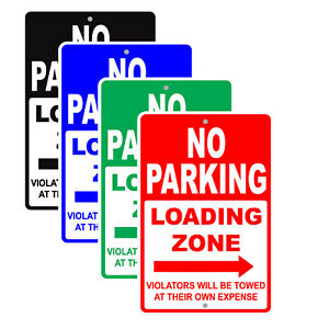 No Parking Loading Zone With Left Arrow Street Safety Aluminum Metal Sign